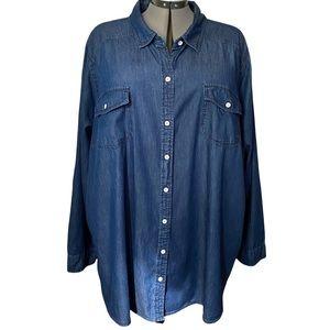 Torrid dark wash Chambray Denim tunic shirt 4x
